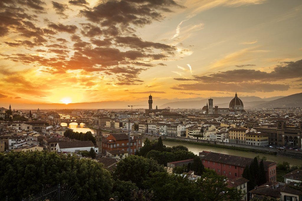 Sunset over Florence and the Arno River.