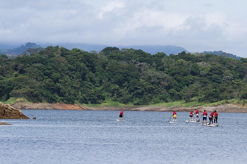 Paddleboarding on Lake Arenal
