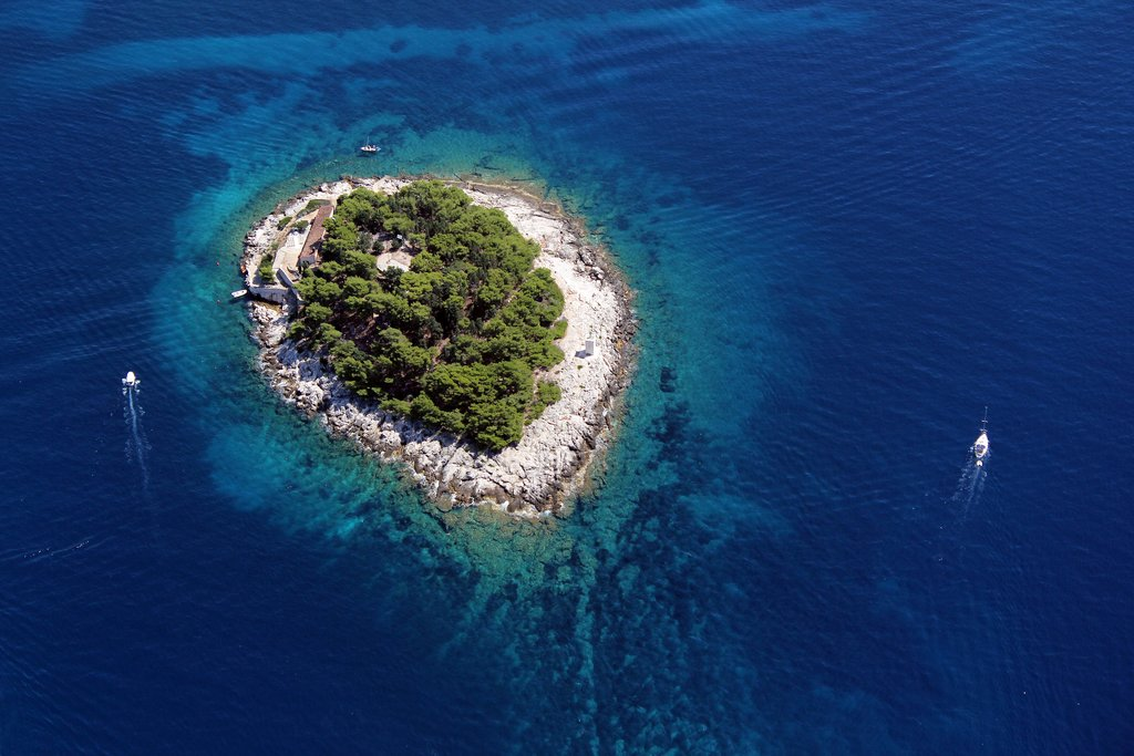 Galesnik Island, the first in line of the Pakleni Islands. From here, you'll have great views of Hvar town