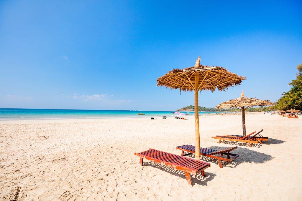 An idyllic stretch of sand at Ngapali Beach