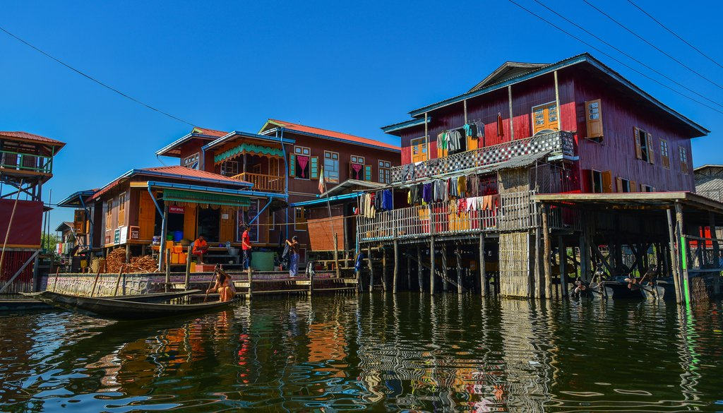 Wooden houses in floating village on Inle Lake