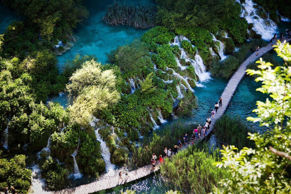 Walk amid travertine lakes in Plitvice Lakes National Park
