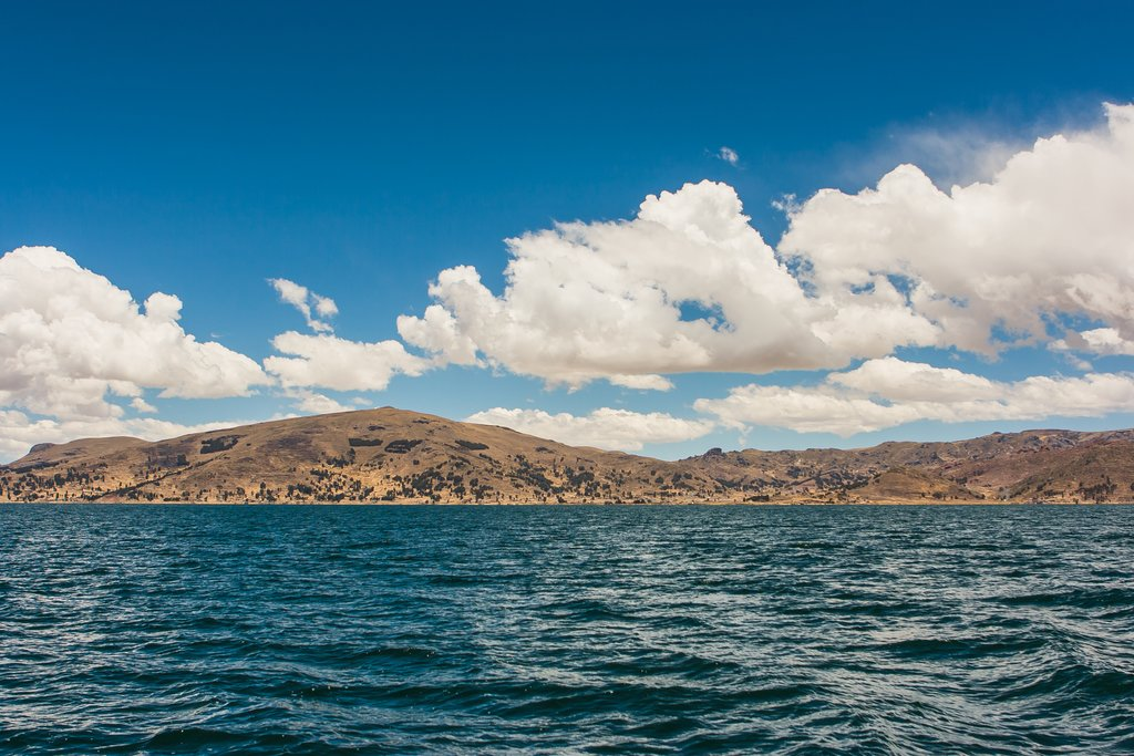 View of Puno mountains from Lake Titicaca