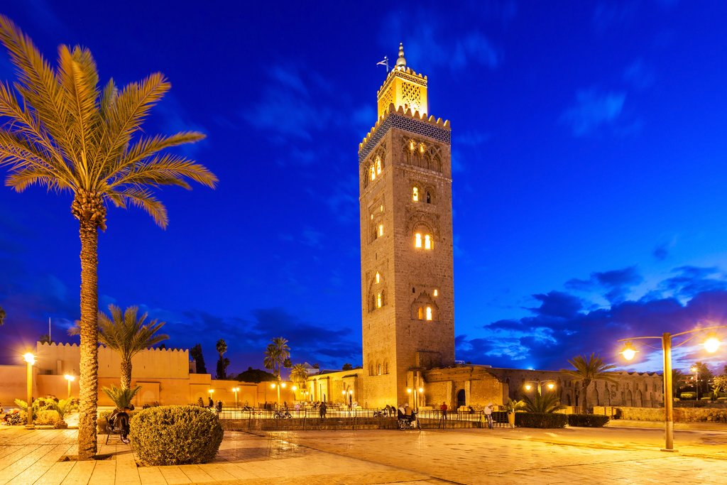 Koutoubia Mosque at night, Marrakech, Morocco