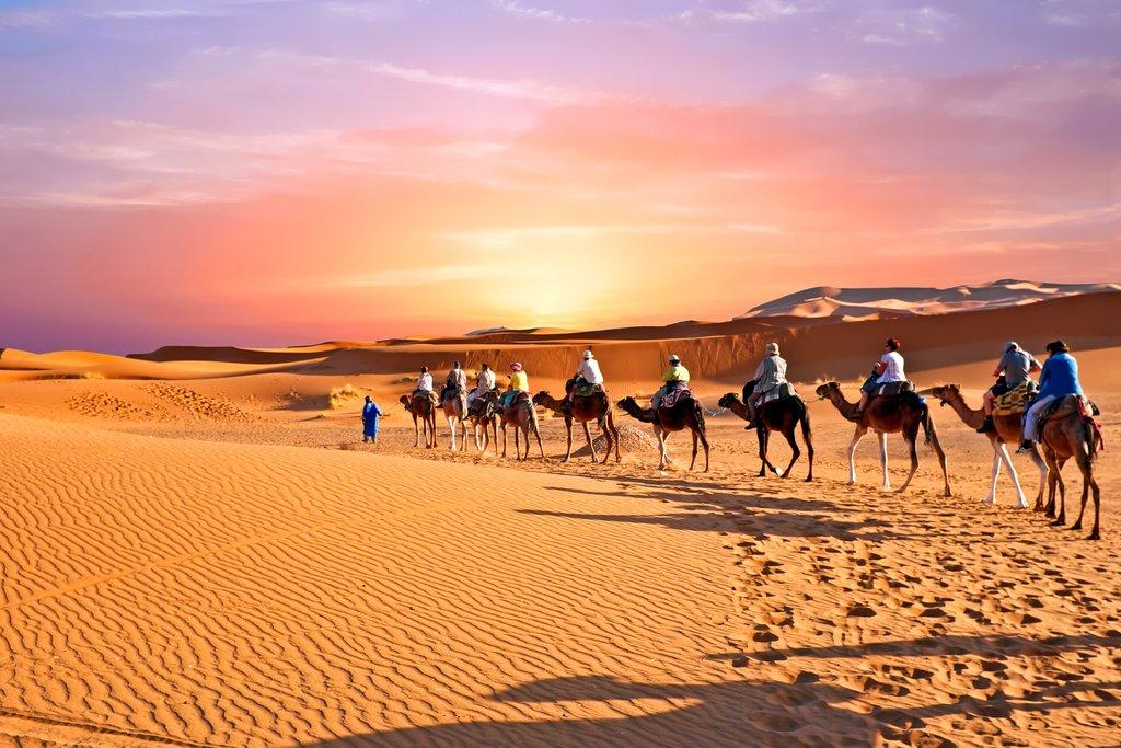 Camel caravan through Erg Chebbi, Sahara, Morocco