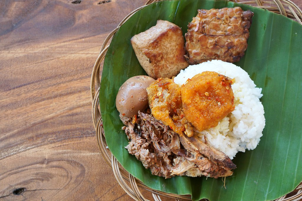 Indonesia - Java - Gudeg-Manggar in a banana leaf dish