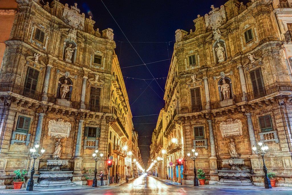 A baroque piazza in Palermo, Sicily