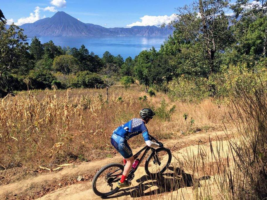 Biking past the beautiful Lake Atitlán.