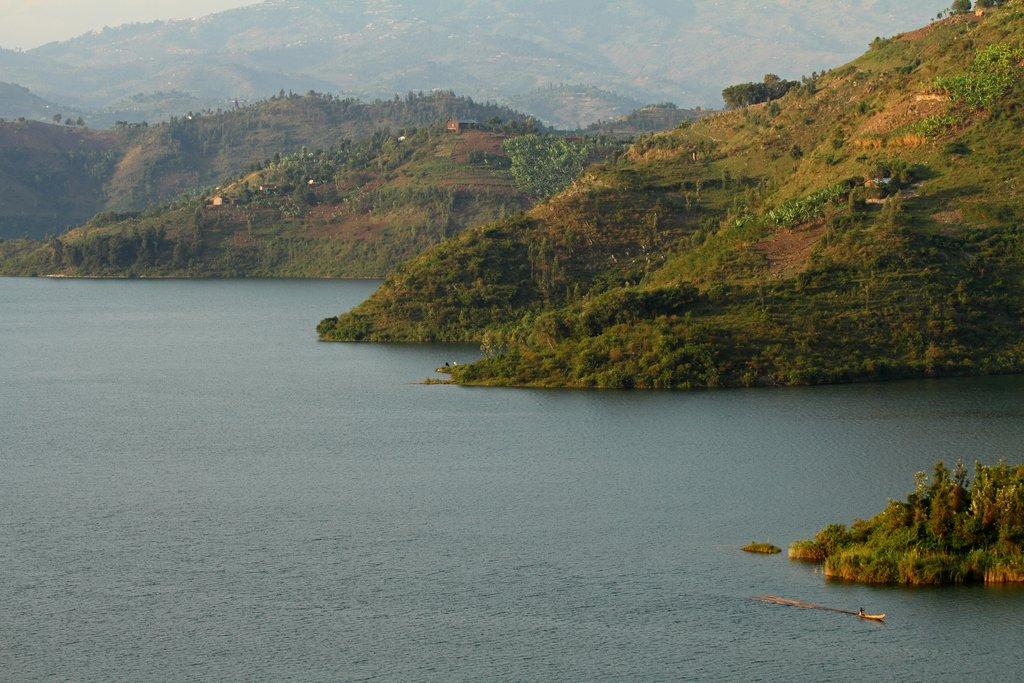 Rolling hills along Lake Kivu