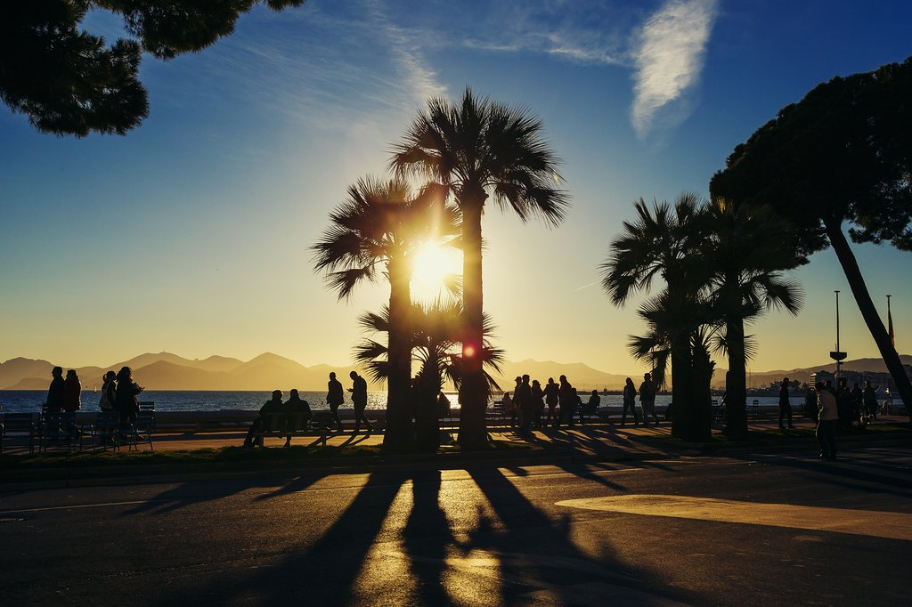 Sunset on the waterfront in Cannes