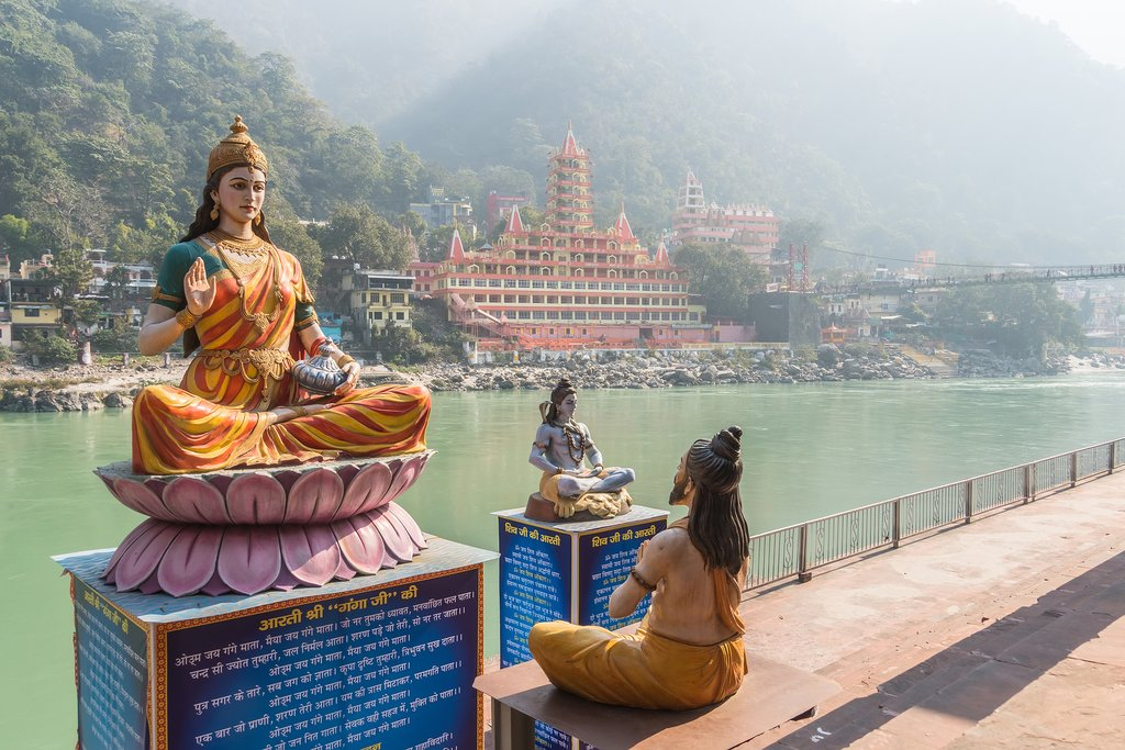 Sculptures on the Ganges in Rishikesh