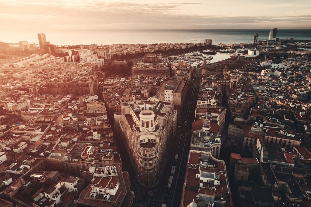 Aerial view of Barcelona's Gothic Quarter