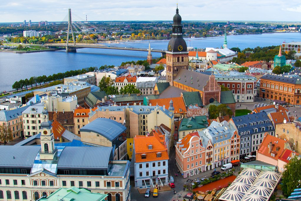 Cathedral Basilica of Saint James, Riga castle and River Daugava