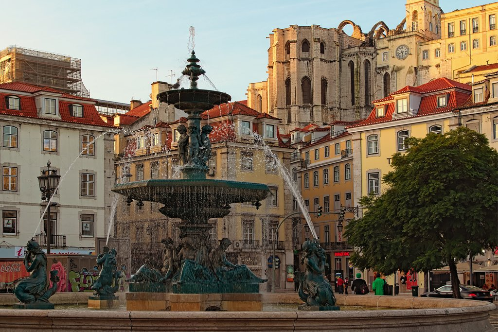 Rossio Square, in Baixa, the historic heart of Lisbon