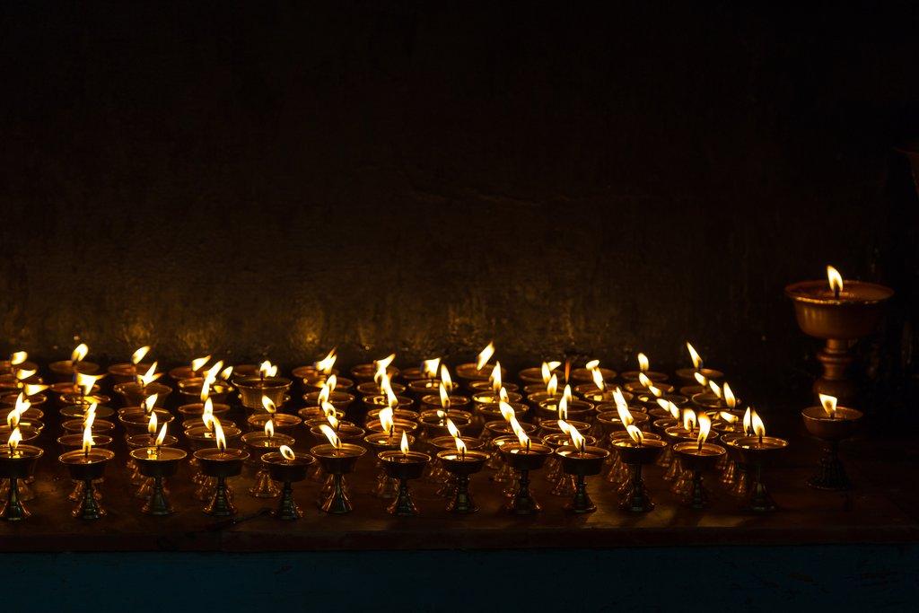 Prayer lamps in Tashi Ling village