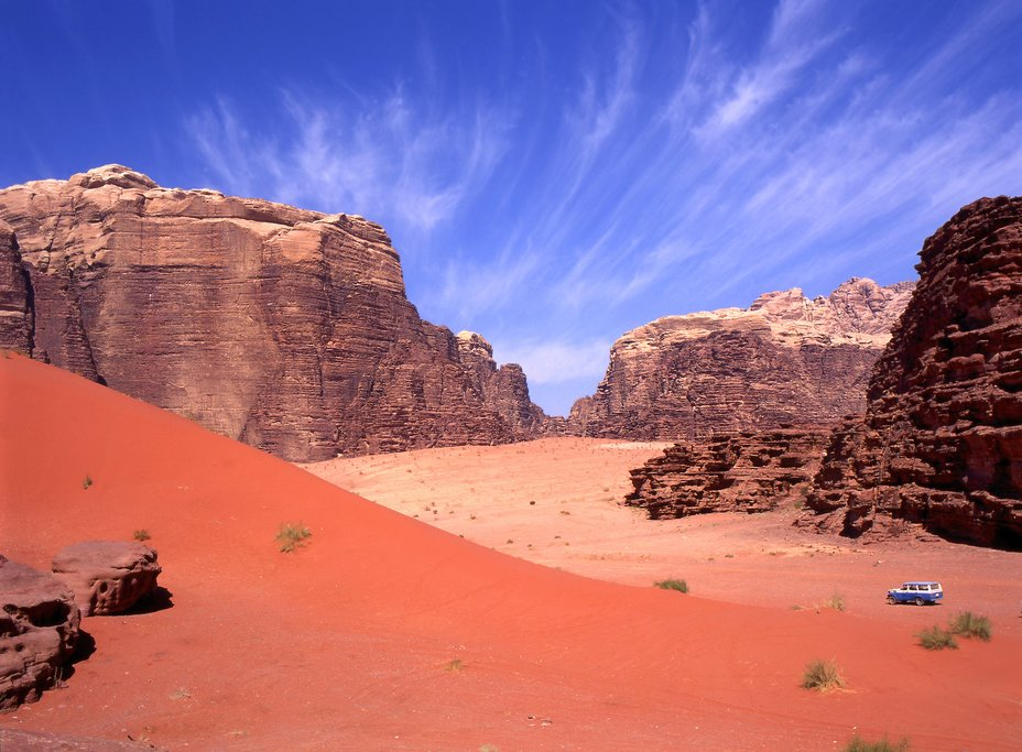 Red deserts in Wadi Rum that you'll explore in a Jeep