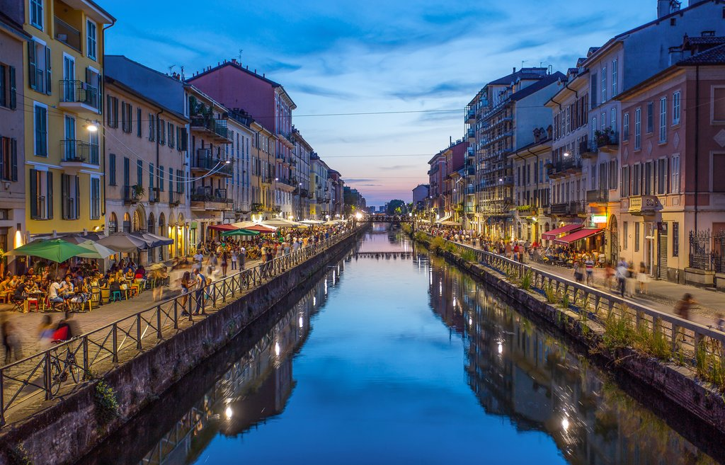Naviglio Grande canal in the evening