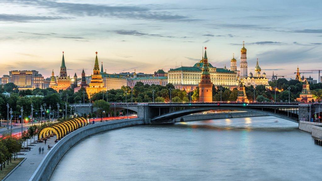 The Kremlin lights up at night