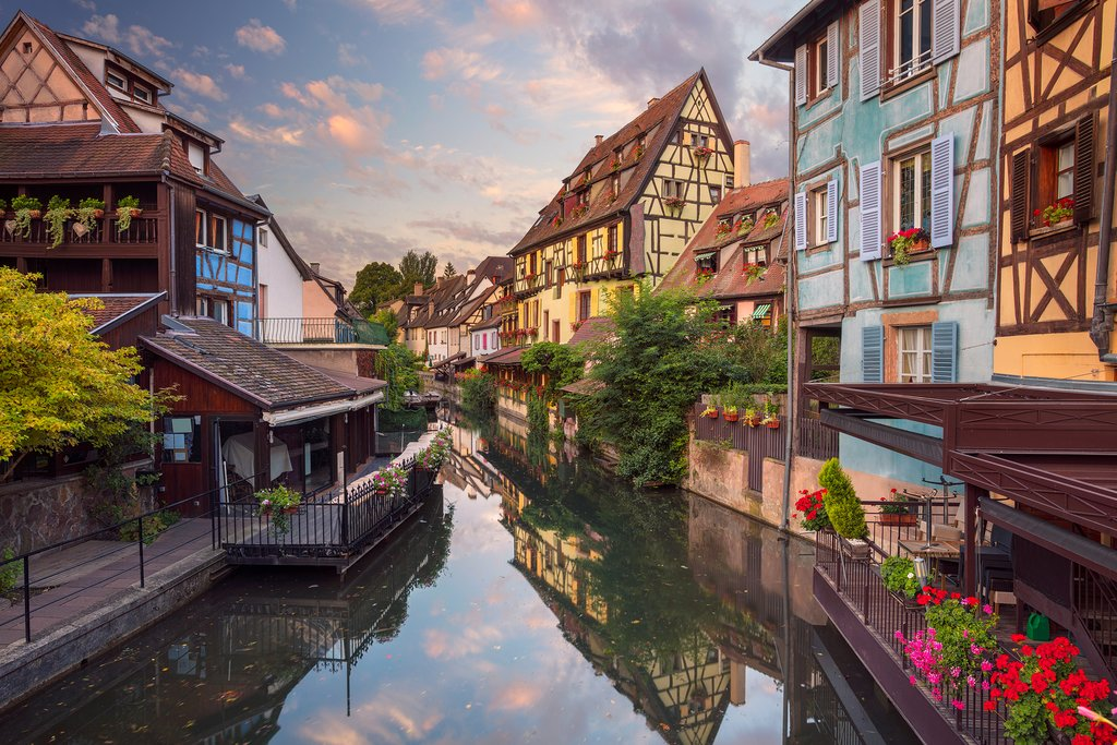 View of Canal and Half-Timbered Houses in Colmar, France