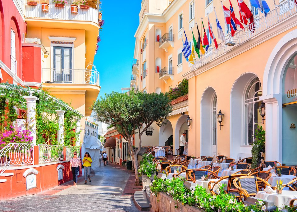 Colorful street cafes, Capri