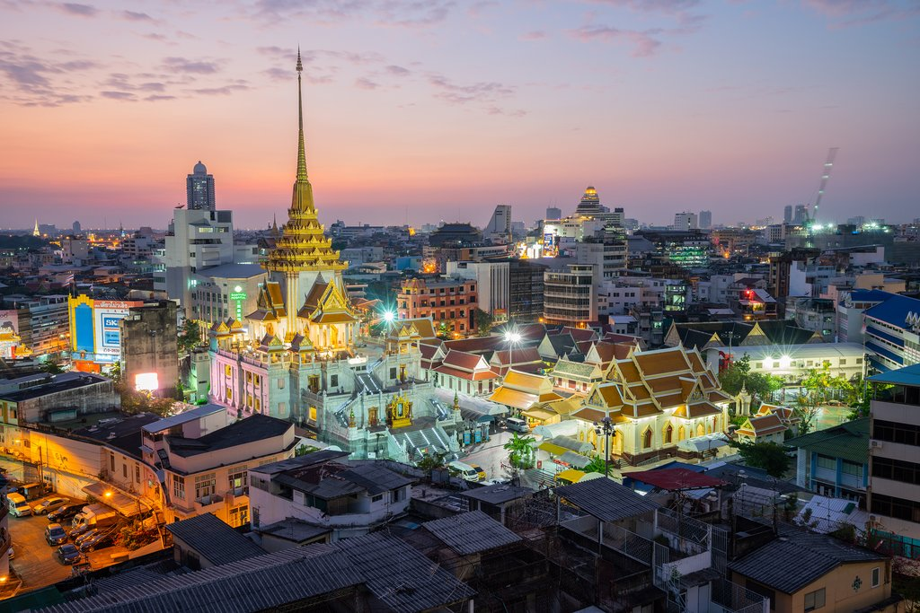 A nighttime view of Bangkok