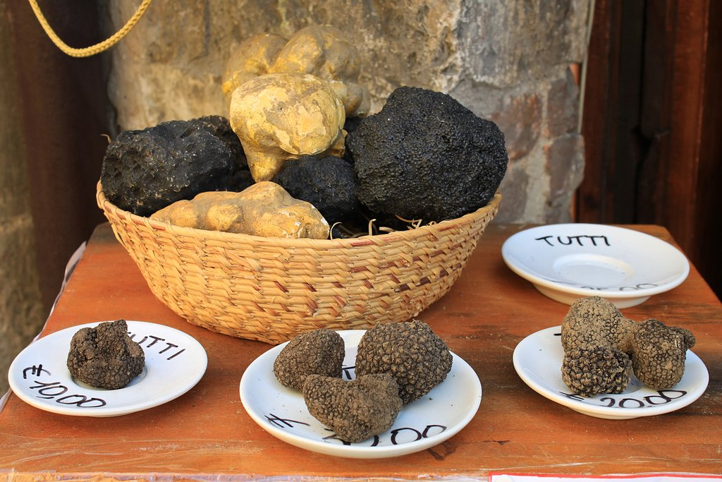 Truffles varieties on display in a local market.