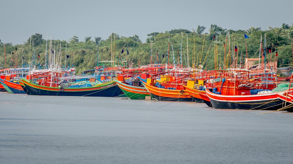 Wooden fishing boats in bright colors near Sunderbans
