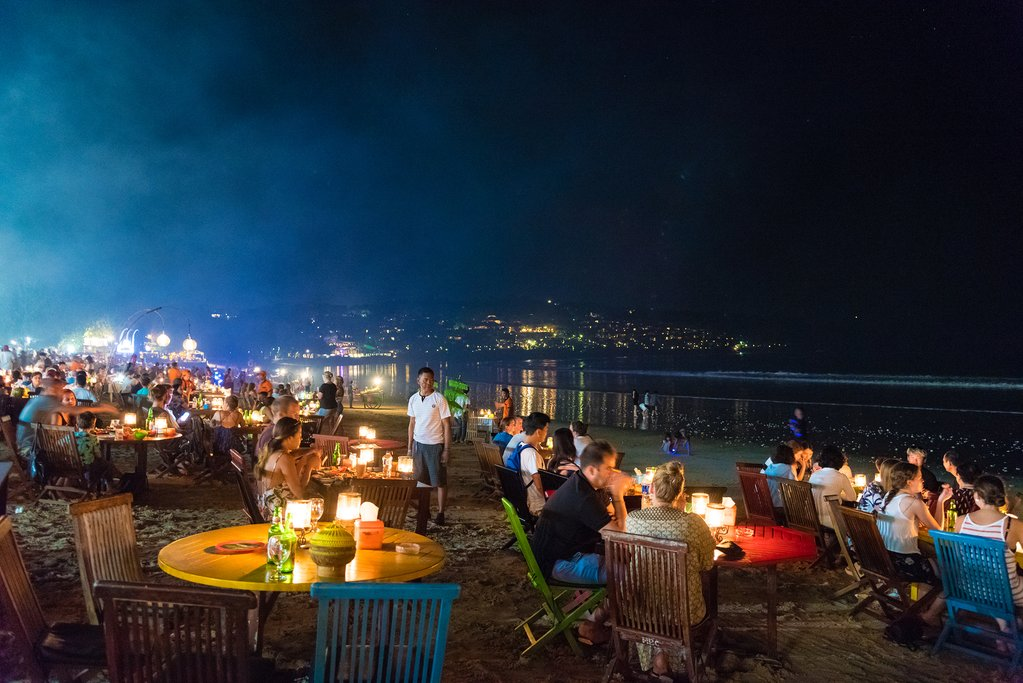 Restaurants on a beach in Jimbaran