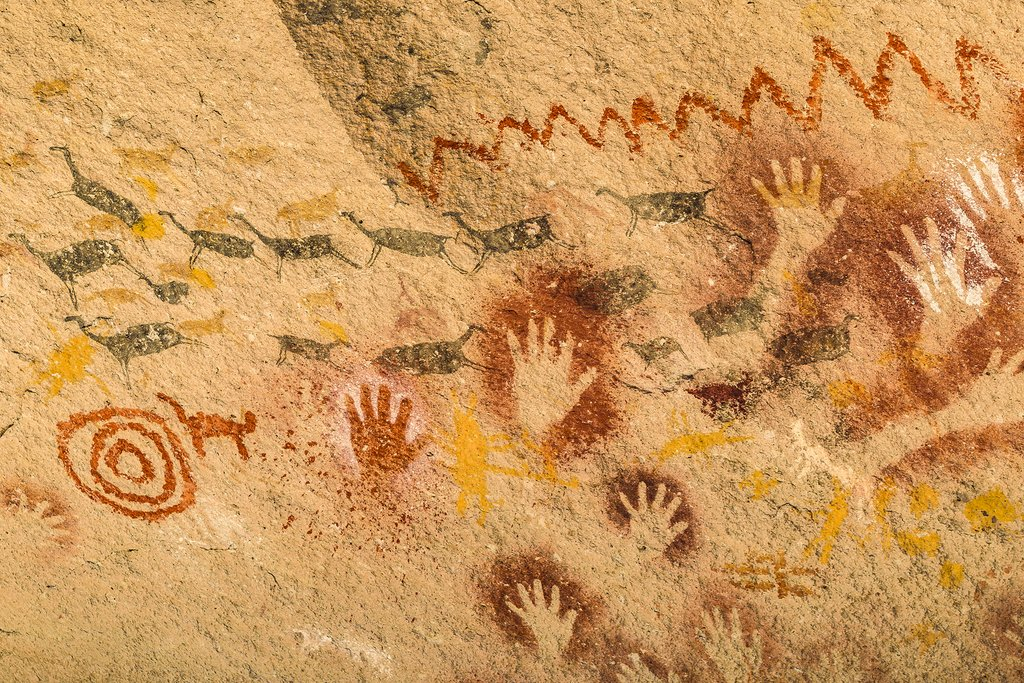 Ancient imprints of human hands at Cueva de las Manos