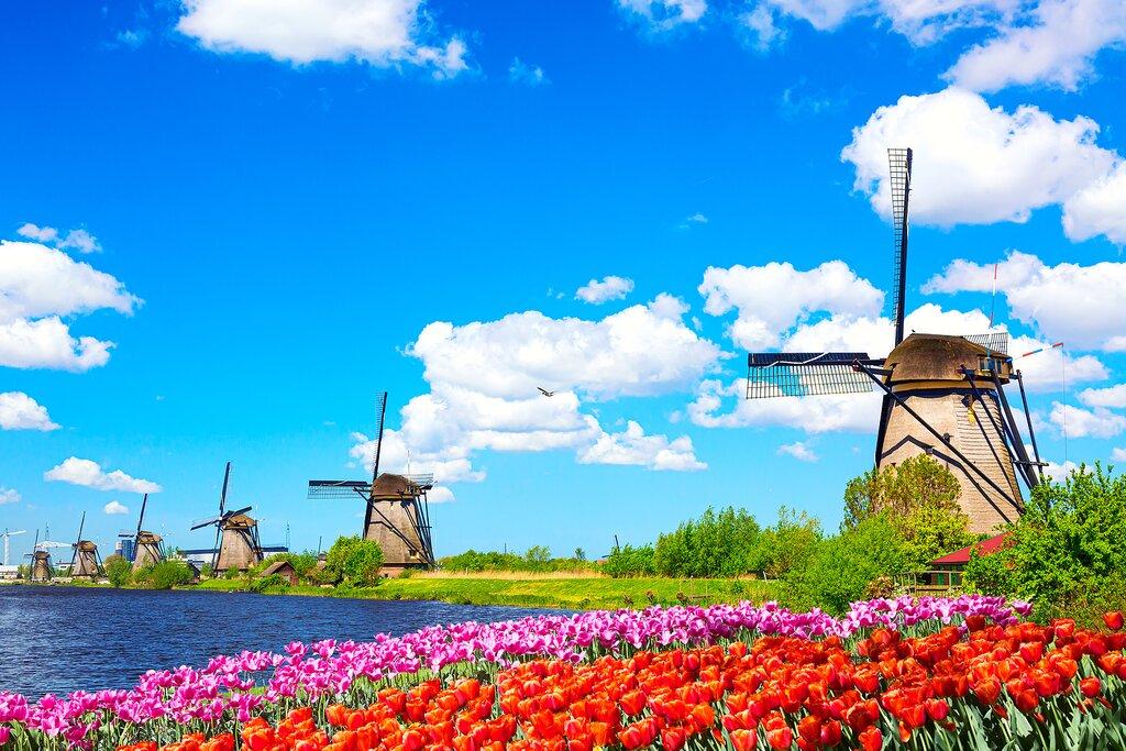 Dutch windmills on a spring day