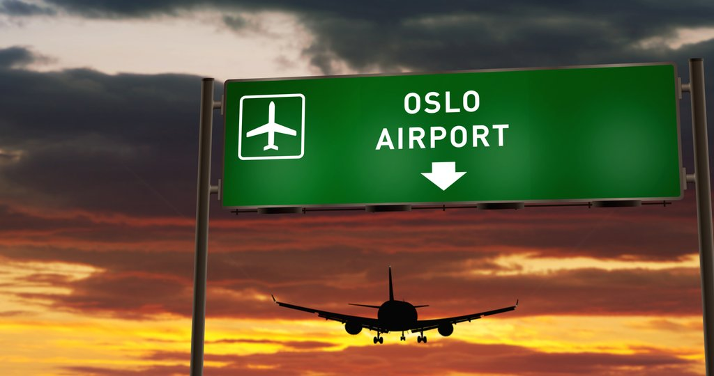 A plane departing Oslo Airport