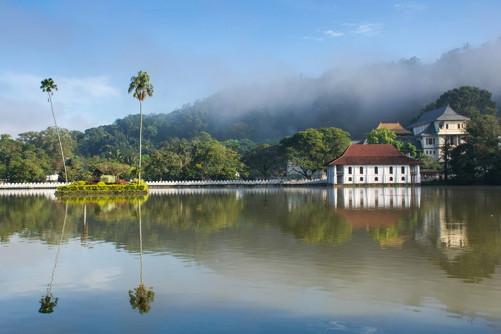 View across Kandy Lake to the Temple of the Tooth.