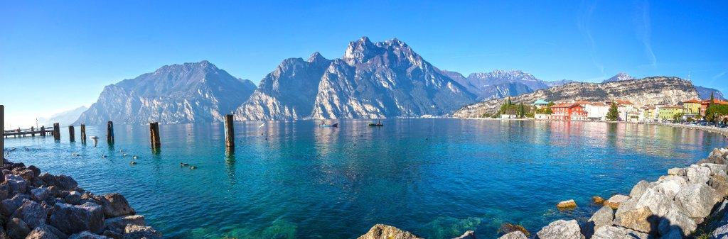 Dramatic mountains surrounding Riva del Garda