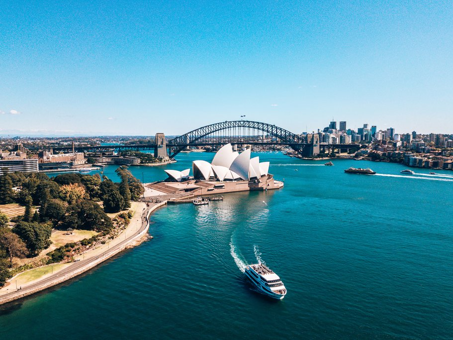 Aerial View of Sydney and the Opera House