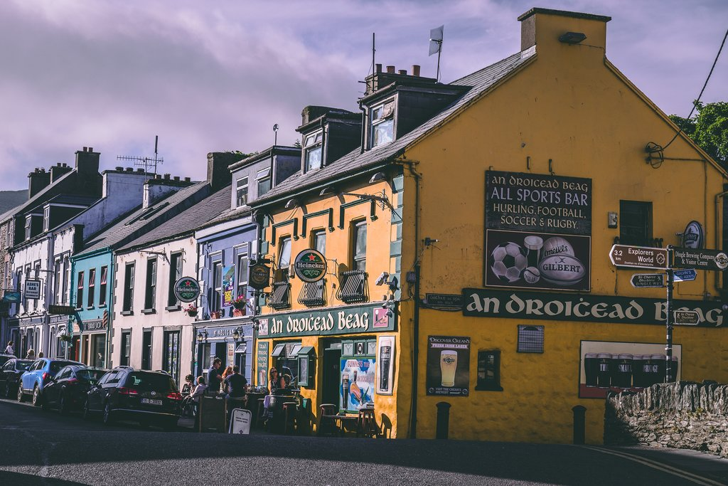 Colorful shopfronts in Dingle Town.