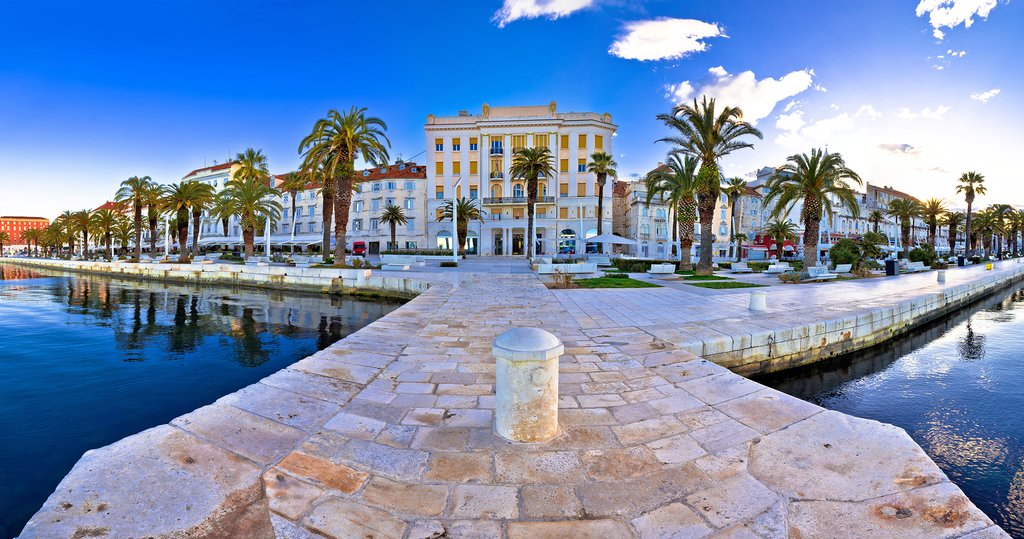 Croatia - The seafront promenade (Riva) and historic port of Split, Dalmatia's capital