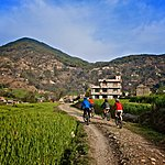 Group of mountain bikers in the Kathmandu Valley