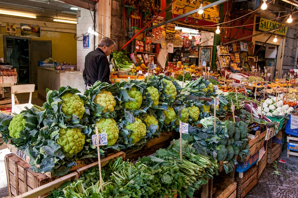 Fresh vegetables for sale at the Vucciria market