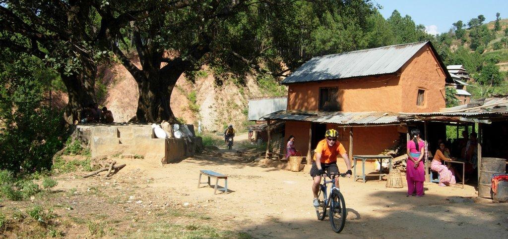 Biking through small villages