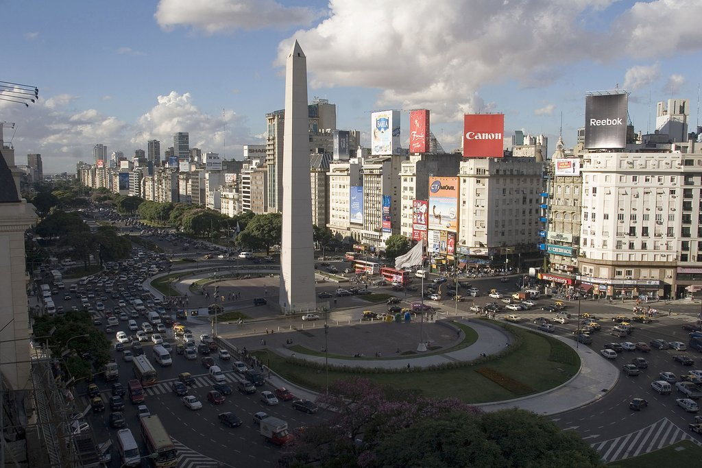 The famous Obelisk, in downtown Buenos Aires