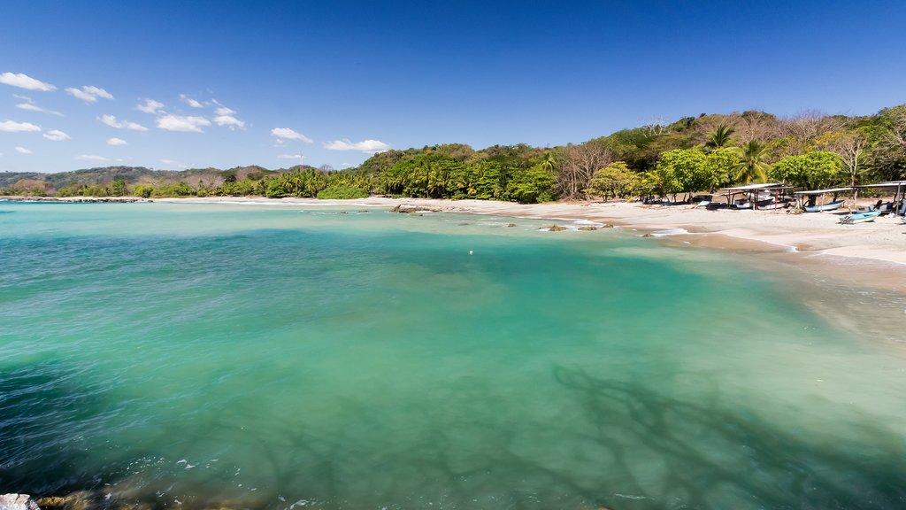 The blue waters, white sand, and lush vegetation of Sámara Beach