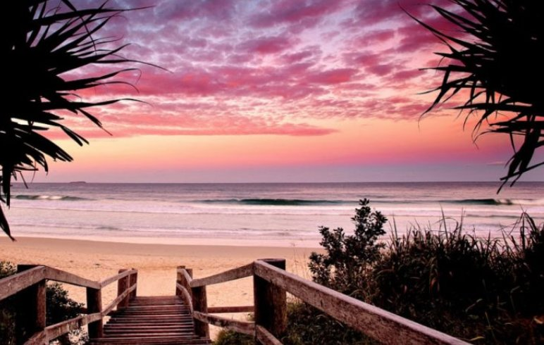 Enjoy the sunset colors over the pristine beaches