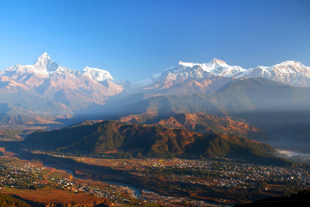 Phewa Lake against the backdrop of the Annapurnas, Pokhara