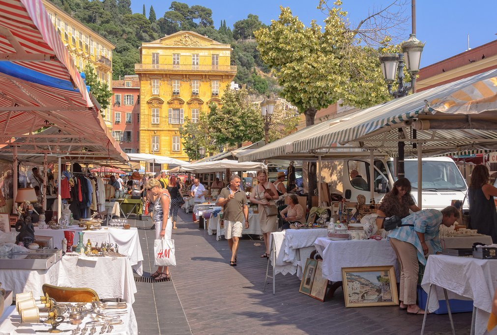 An open-air market in Vieille Ville, Nice's old town