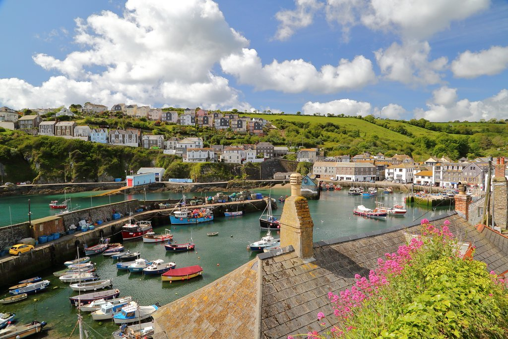 Mevagissey's colorful double-walled harbor.