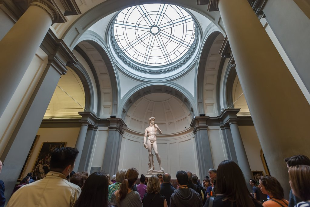 Tourists viewing Michelangelo's David