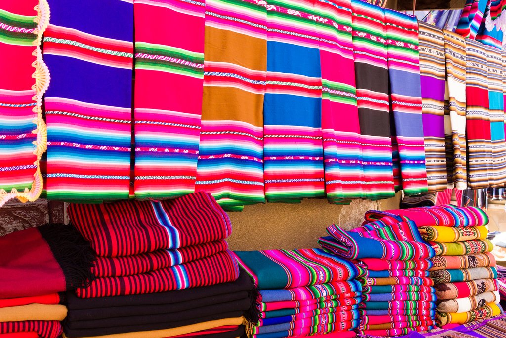 Bolivian textiles and blankets in a market
