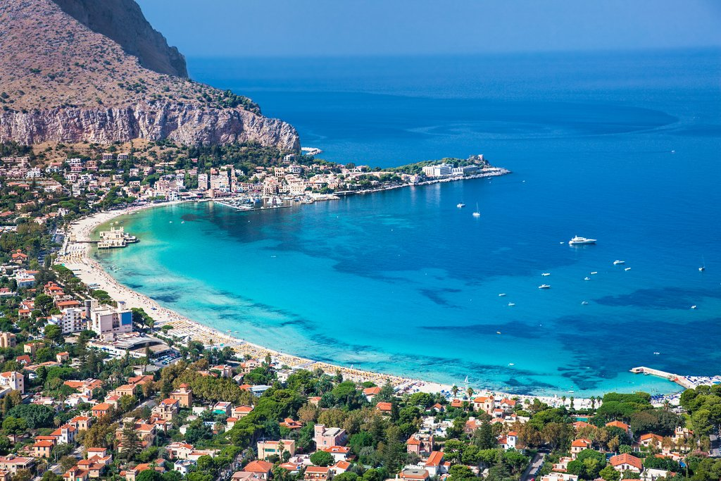 An aerial view of Mondello Beach