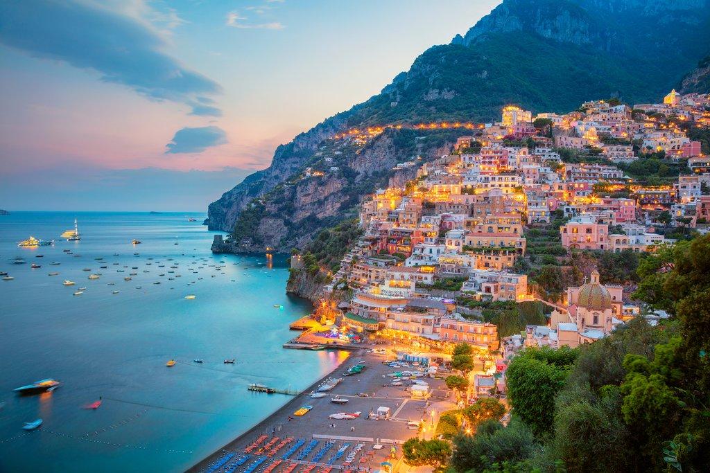 Sunset over Positano on the Amalfi Coast