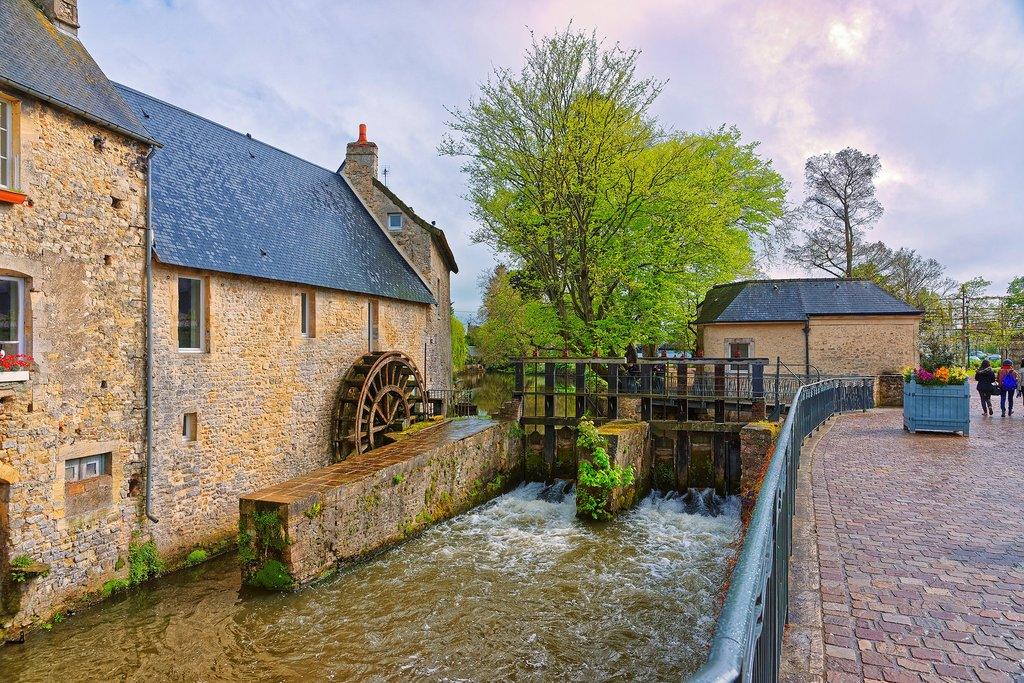Water Mill and Aure River in Bayeux, France